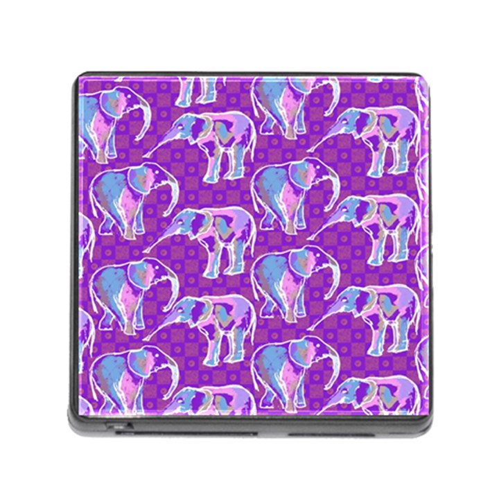 Cute Violet Elephants Pattern Memory Card Reader (Square)