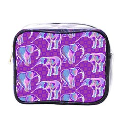 Cute Violet Elephants Pattern Mini Toiletries Bags by DanaeStudio