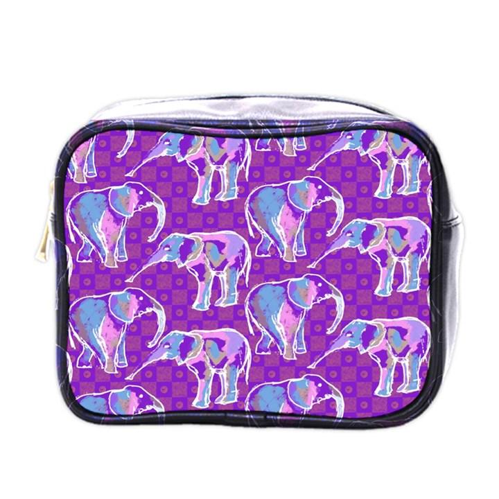 Cute Violet Elephants Pattern Mini Toiletries Bags