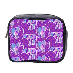 Cute Violet Elephants Pattern Mini Toiletries Bag 2 Side by DanaeStudio