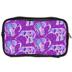 Cute Violet Elephants Pattern Toiletries Bags by DanaeStudio