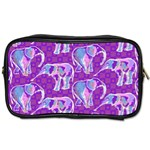 Cute Violet Elephants Pattern Toiletries Bags 2-Side Front