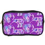 Cute Violet Elephants Pattern Toiletries Bags 2-Side Back