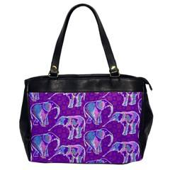 Cute Violet Elephants Pattern Office Handbags by DanaeStudio
