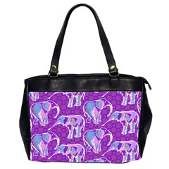 Cute Violet Elephants Pattern Office Handbags (2 Sides)  by DanaeStudio