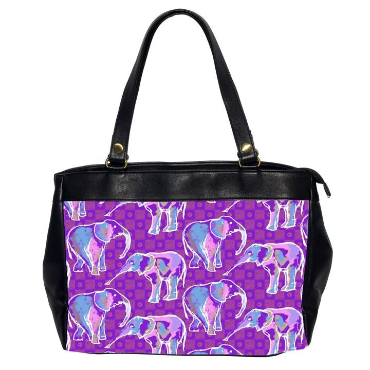 Cute Violet Elephants Pattern Office Handbags (2 Sides)