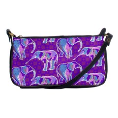 Cute Violet Elephants Pattern Shoulder Clutch Bags by DanaeStudio