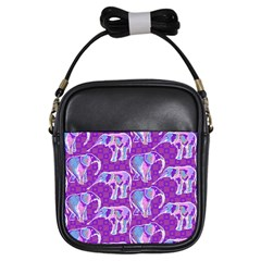 Cute Violet Elephants Pattern Girls Sling Bags by DanaeStudio