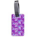 Cute Violet Elephants Pattern Luggage Tags (One Side)  Front