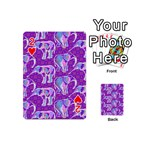 Cute Violet Elephants Pattern Playing Cards 54 (Mini)  Front - Heart2