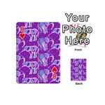 Cute Violet Elephants Pattern Playing Cards 54 (Mini)  Front - Heart8