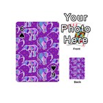 Cute Violet Elephants Pattern Playing Cards 54 (Mini)  Front - Spade6
