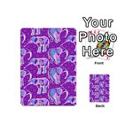 Cute Violet Elephants Pattern Playing Cards 54 (Mini)  Back