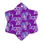 Cute Violet Elephants Pattern Ornament (Snowflake)  Front