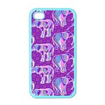 Cute Violet Elephants Pattern Apple iPhone 4 Case (Color) Front
