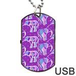 Cute Violet Elephants Pattern Dog Tag USB Flash (Two Sides)