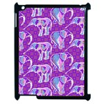 Cute Violet Elephants Pattern Apple iPad 2 Case (Black) Front