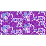 Cute Violet Elephants Pattern PARTY 3D Greeting Card (8x4) Front