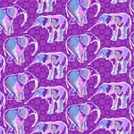 Cute Violet Elephants Pattern PARTY 3D Greeting Card (8x4) Inside