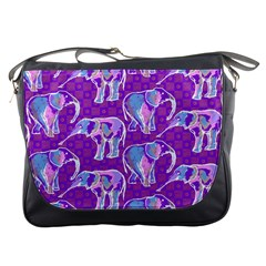 Cute Violet Elephants Pattern Messenger Bags by DanaeStudio