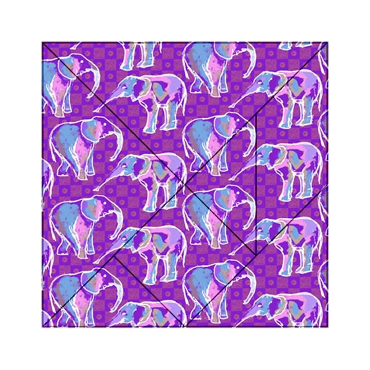 Cute Violet Elephants Pattern Acrylic Tangram Puzzle (6  x 6 )