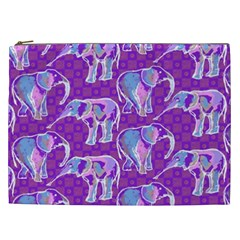 Cute Violet Elephants Pattern Cosmetic Bag (xxl)  by DanaeStudio