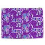 Cute Violet Elephants Pattern Cosmetic Bag (XXL)  Back