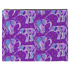Cute Violet Elephants Pattern Cosmetic Bag (xxxl)  by DanaeStudio