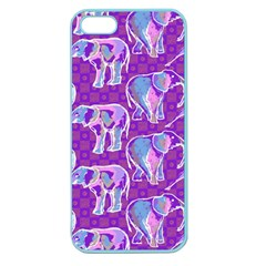 Cute Violet Elephants Pattern Apple Seamless Iphone 5 Case (color) by DanaeStudio