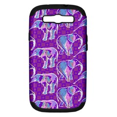 Cute Violet Elephants Pattern Samsung Galaxy S Iii Hardshell Case (pc+silicone) by DanaeStudio