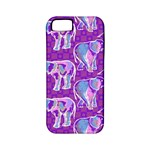 Cute Violet Elephants Pattern Apple iPhone 5 Classic Hardshell Case (PC+Silicone)