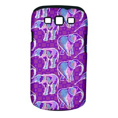 Cute Violet Elephants Pattern Samsung Galaxy S Iii Classic Hardshell Case (pc+silicone)