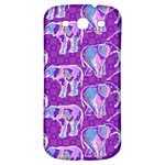 Cute Violet Elephants Pattern Samsung Galaxy S3 S III Classic Hardshell Back Case Front