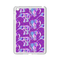 Cute Violet Elephants Pattern Ipad Mini 2 Enamel Coated Cases by DanaeStudio