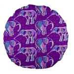 Cute Violet Elephants Pattern Large 18  Premium Round Cushions