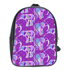 Cute Violet Elephants Pattern School Bags (xl)  by DanaeStudio