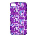 Cute Violet Elephants Pattern Apple iPhone 4/4S Hardshell Case with Stand