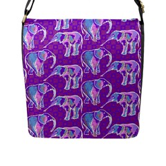 Cute Violet Elephants Pattern Flap Messenger Bag (l)  by DanaeStudio
