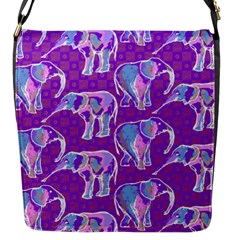 Cute Violet Elephants Pattern Flap Messenger Bag (s) by DanaeStudio