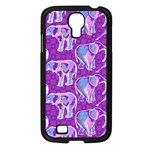 Cute Violet Elephants Pattern Samsung Galaxy S4 I9500/ I9505 Case (Black) Front