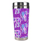 Cute Violet Elephants Pattern Stainless Steel Travel Tumblers Center