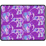 Cute Violet Elephants Pattern Double Sided Fleece Blanket (Medium)  58.8 x47.4 Blanket Back