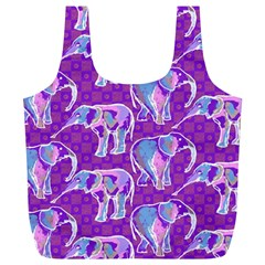 Cute Violet Elephants Pattern Full Print Recycle Bags (l)  by DanaeStudio
