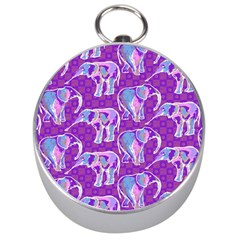 Cute Violet Elephants Pattern Silver Compasses by DanaeStudio