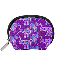 Cute Violet Elephants Pattern Accessory Pouches (small)  by DanaeStudio