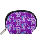 Cute Violet Elephants Pattern Accessory Pouches (Small)  Front