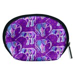 Cute Violet Elephants Pattern Accessory Pouches (Medium)  Back
