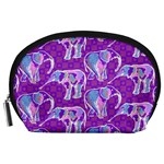 Cute Violet Elephants Pattern Accessory Pouches (Large)  Front