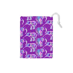 Cute Violet Elephants Pattern Drawstring Pouches (small)  by DanaeStudio
