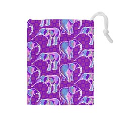 Cute Violet Elephants Pattern Drawstring Pouches (large)